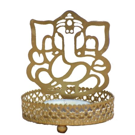 OHD042: Auspicious Brass Lord Ganesh Art with Candle Holder.