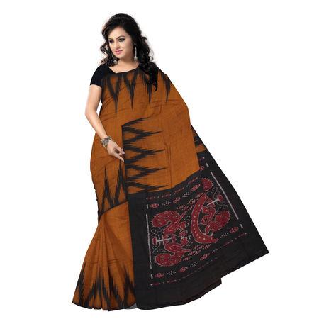OSS7505: Exclusive collection kargil design copper-black combination cotton sari