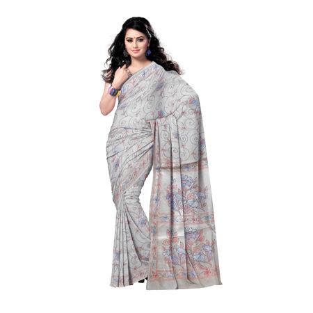 OSSWB9040: West Bengal Kantha Stitch Silk Saree