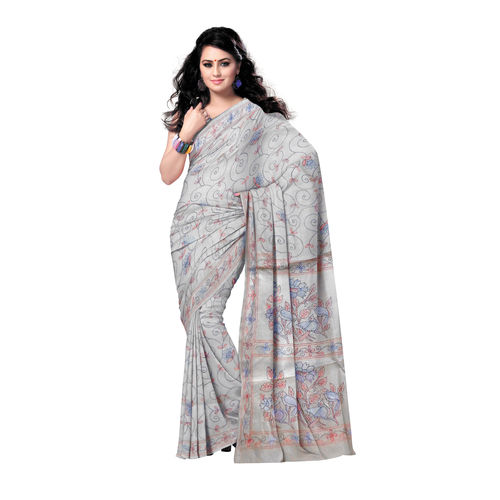 OSSWB9040: West Bengal Kantha Stitch Silk Saree