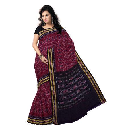 OSS7570: Black-maroon Ikat design handmade cotton saree
