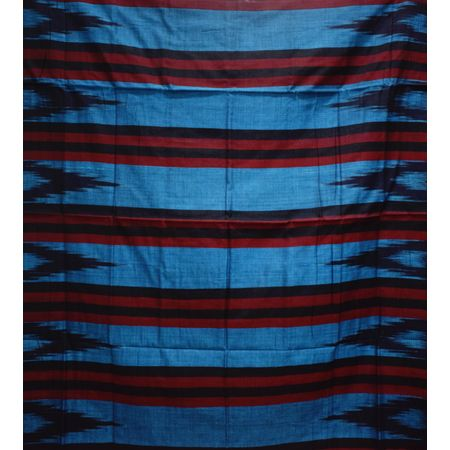 Kargil Design Metalic Blue With Black Handloom Cotton Saree of Odisha, Nuapatana AJ001557