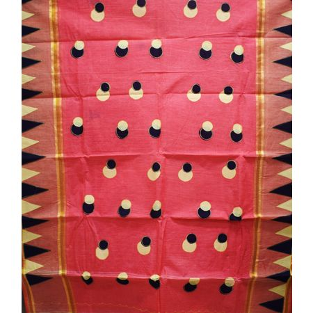 Light Red With Black Handloom Ball Design Cotton Saree Of West Bengal AJ001661
