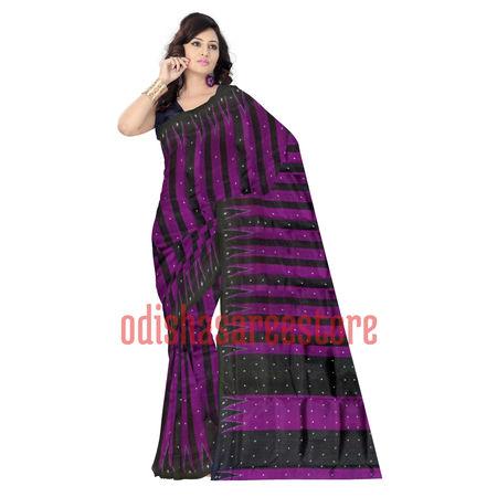OSS852: Black Handwoven Sambalpuri Silk Sari Online shopping