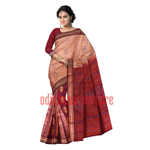 OSS40006: Light Peach color Handwoven Bomkai Cotton unique odisha saris now for gifting