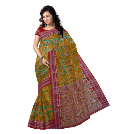 OSS5159: Honey and Maroon Ikat handwoven Silk Saree of odisha.