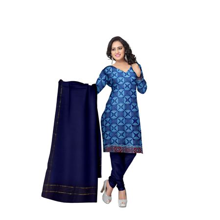 Sky Blue With Deep Blue Printed Handloom Cotton Dress Material of Telangana AJ001537