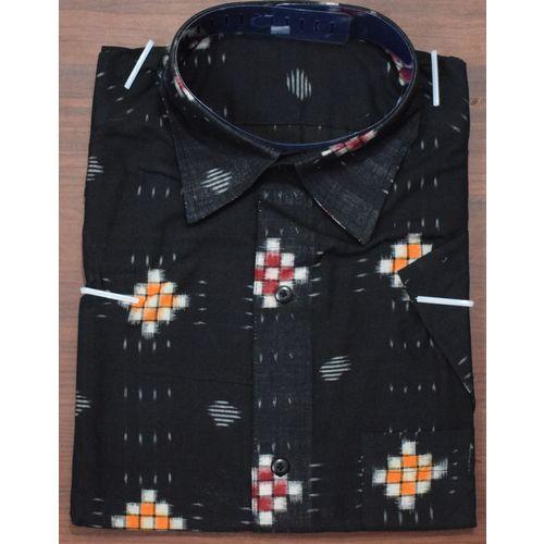 Handloom Sambalpuri Pasapalli Cotton Half Shirt in Black AJ001195