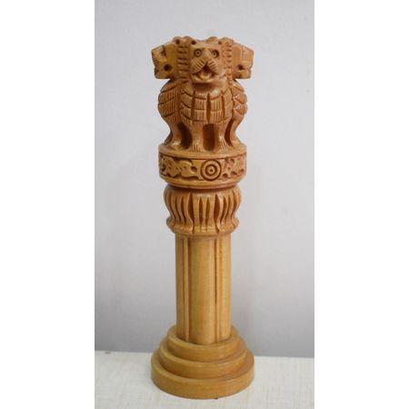 OSSRJ001: Beautiful Wooden Ashoka Pillar Handmade Indian Emblem for Home