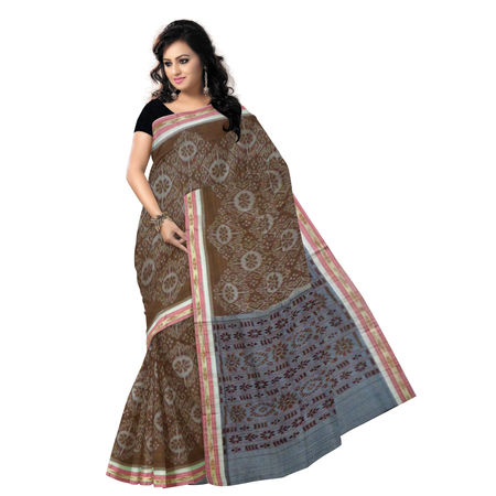 OSS6176: Big Flower design Deep Brown cotton saree