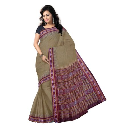 OSS7523: Tusser color with Maroon handloom cotton saree for festival wear.