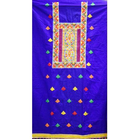 Navy Blue With Yellow Bandhani design Handloom Cotton silk Dress Material of Banaras AJ001787