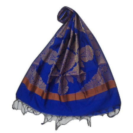OSSUP151: Banarashee Chanderi dupatta Cotton Silk Zari Woven Big Flower Design