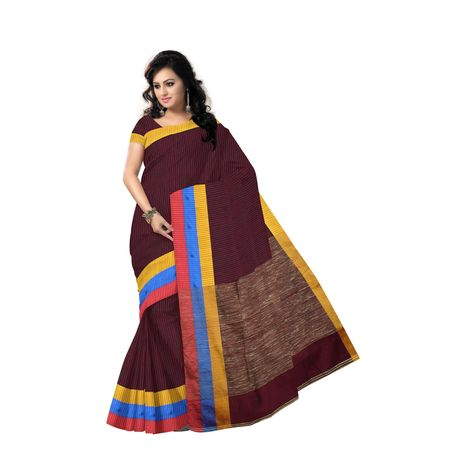 AJ000158: Deep Brownish with Chocolate Handloom Jharana West Bengal Cotton Saree with Blouse piece