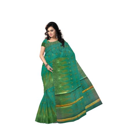 Light Green With Golden Handloom Temple Design Banaras cotton Silk Saree of Uttar Pradesh AJ001578