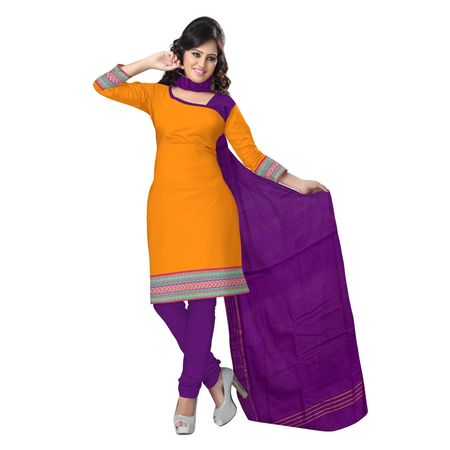 OSSTG6216: Mustard color handloom ladies dress material.