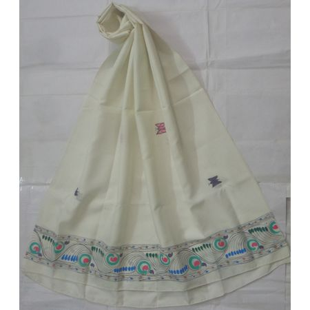 OSS300014: White color Patachitra Dupatta for party wear