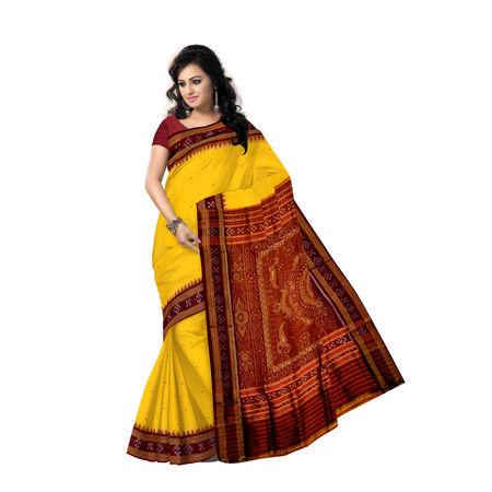 OSS172: Butti design yellow colour bridal silk saree