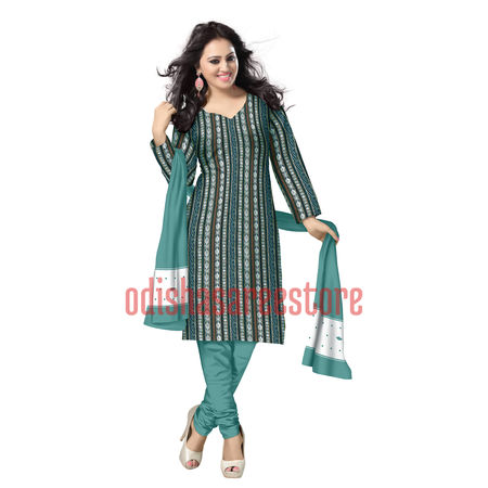 OSS6189: Cotton Handwoven Green color Shell design sambalpuri Dress Materials