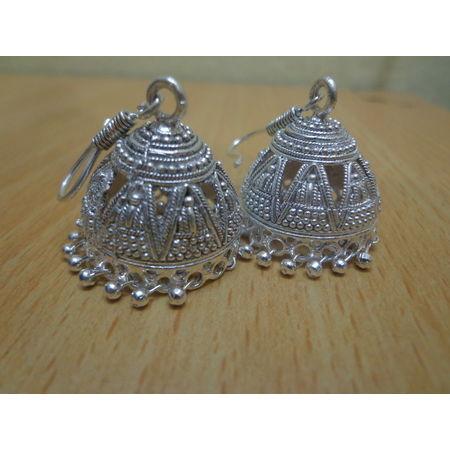 OSSRJ003: Rajasthani White metal jhumka style earing jwellery.