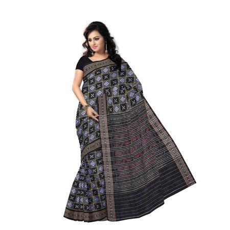 OSS7529: Deep ash ethnic Pasapalli Cotton Saree of Sambalpur