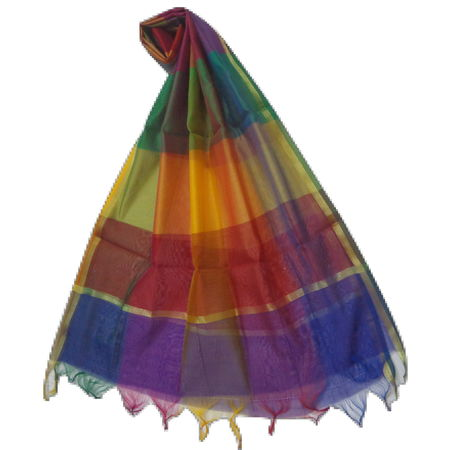 OSSUP158: Multicolor Banarashee Silk Dupatta for stylish ladies