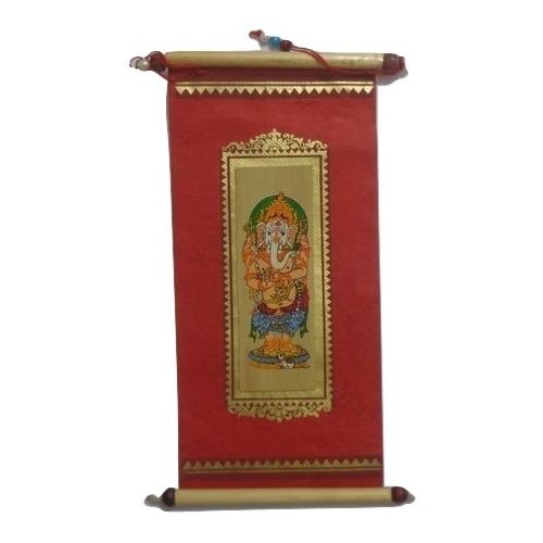 OHP055: Talapatra Standing Lord Ganesha Patachitra Painting s on Red base.