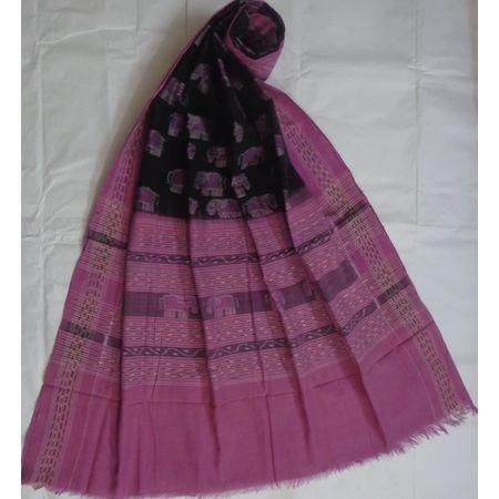 OSS110: Stunning elephant design black-purple cotton dupatta