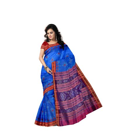 Copper Sulphate with Red Flower Design Handloom Silk saree of Odisha Nuapatna AJ001297