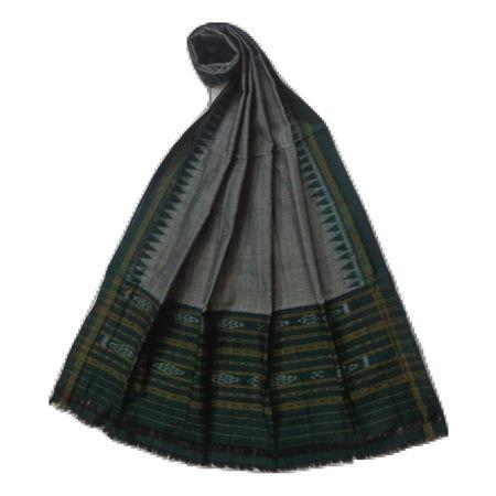 OSS8504: Green Handloom designer cotton ikat dupatta