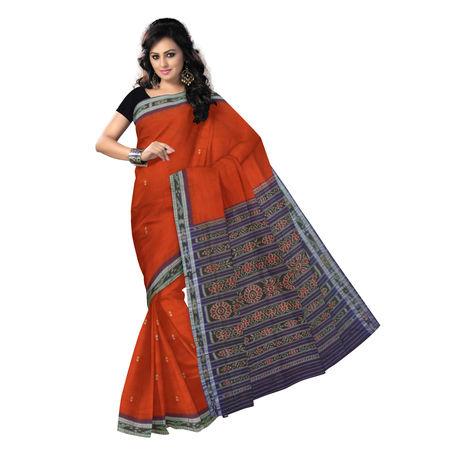 OSS9129: Deep brick buti design hand woven sambalpuri cotton saree