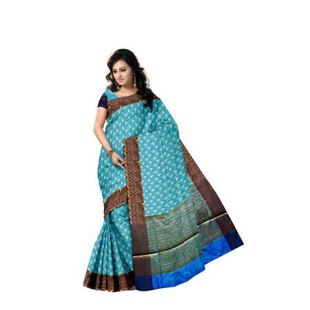 Sky Blue With Golden Handloom Buti Design Banaras cotton Silk Saree of Uttar Pradesh AJ001589
