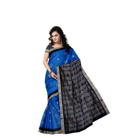 Copper Sulphate with Black Handloom Bomkai Silk saree with Blousepiece AJ001203