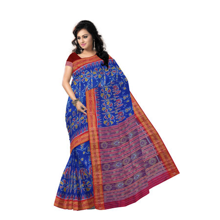 OSS5164: Traditional Ink Blue with Maroon Khandua Silk Saree of odisha.