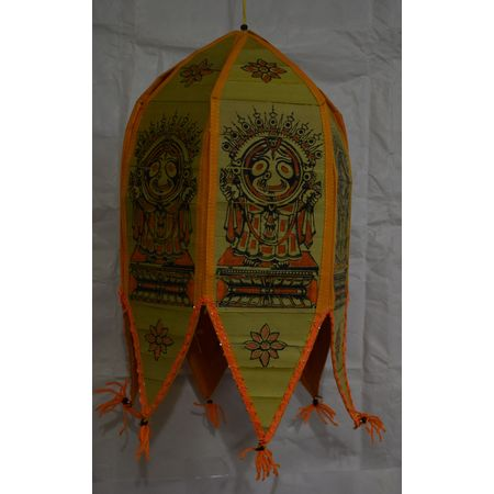 OHP029: Palm Leaf Patachitra Painting Of Lord Jagannath Lamp Shade.