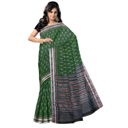 OSS9054: Green with Black Handwoven Cotton Saree of sambalpur