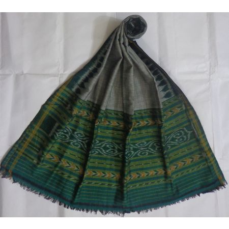 OSS3574: Green color handwoven cotton dupatta for office wear.