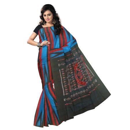 OSS9083: Blue, Black Maroon handwoven Cotton saree.