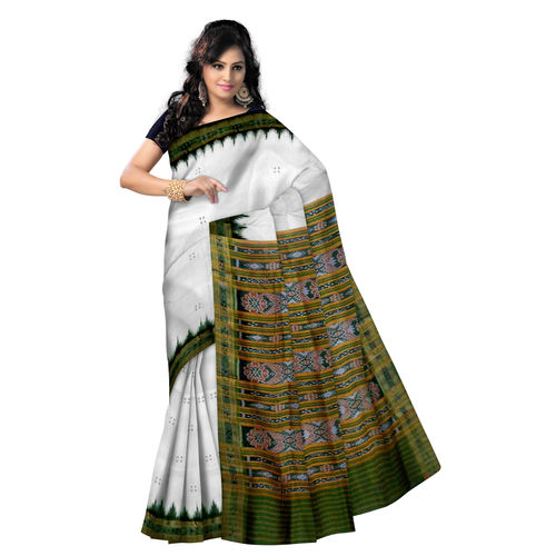 OSS856: White with Green combo Handwoven Buti design s Silk Saris from orissa