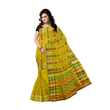 AJ000137: Yellow Baluchari Handwoven cotton saree of West Bengal.