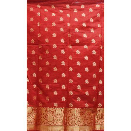 Red With Black Handloom Cotton silk Dress Material of Banaras AJ001797