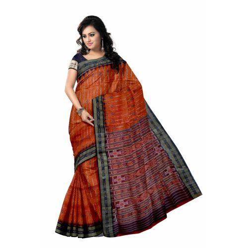 OSS5110: Traditional Orange Orissa rich handloom silk sari.
