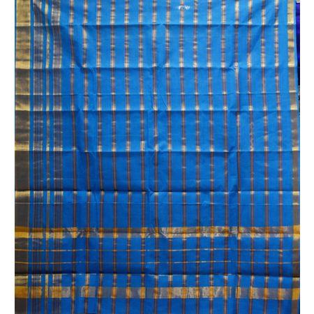 Sky Blue With Gold Colour Check Design Cotton Silk Saree of Telangana AJ001668