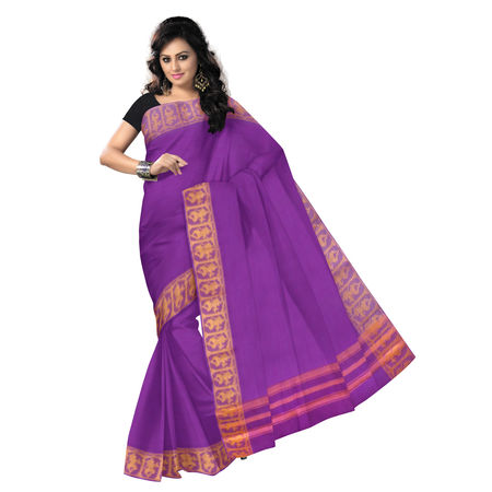 OSSTG010: Handwoven Violet kanchi Cotton Saree for Bharatnatyam dance, specially for Children.