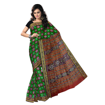 OSS5157: Light Green with Maroon pasapalli handwoven Silk Saree.