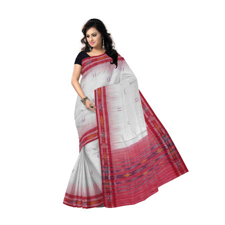 OSS7575: White-red combination cotton sarees with buti design
