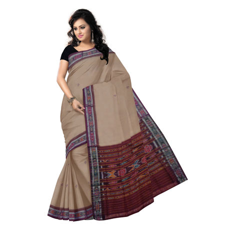 OSS962: Sandalwood colour buti design elegant cotton sari