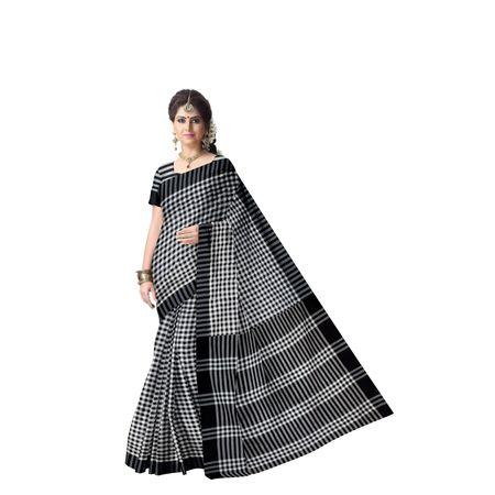 Check Design Black With White Kusumdola Handloom Cotton Saree of West Bengal AJ001469