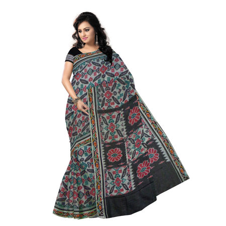 OSS4000: Grey-Black Handloom Mercerized Sambalpuri Saree