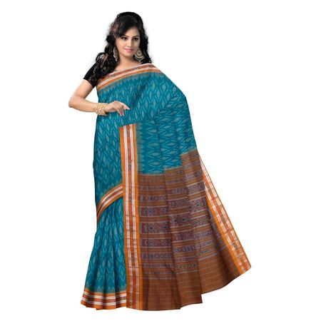 OSS9064: Blue with Orange handwoven cotton sarees.